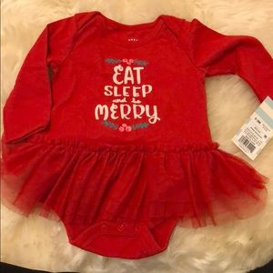 Cat and Jack Christmas Onesie with Tutu